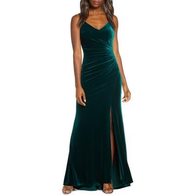 Vince Camuto Ruched Side Slit Velvet Evening Gown, Regular - Green
