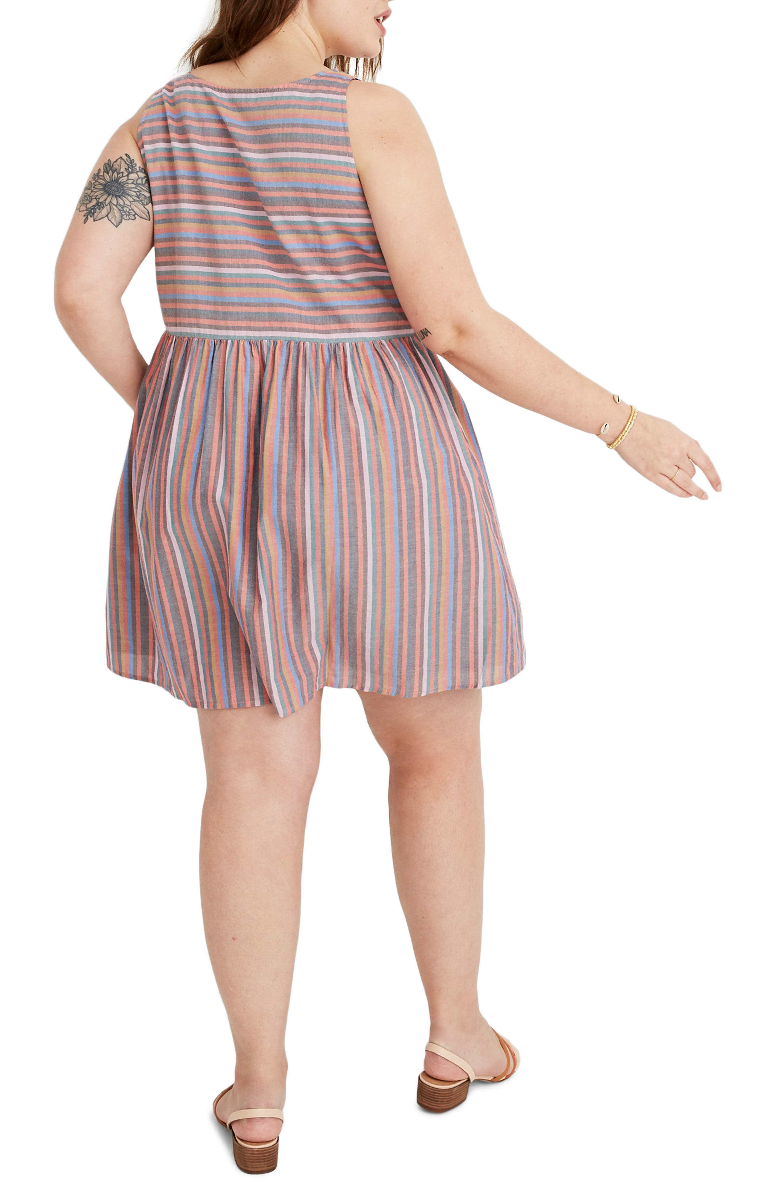,                             Rainbow Stripe Tank Dress,                             Alternate thumbnail 5, color,                             MULLED WINE SMITH STRIPE