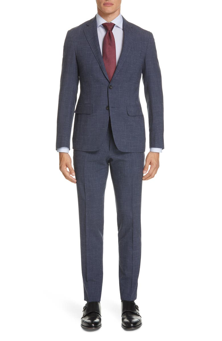 CANALI Kei Trim Fit Check Wool Blend Suit, Main, color, 020
