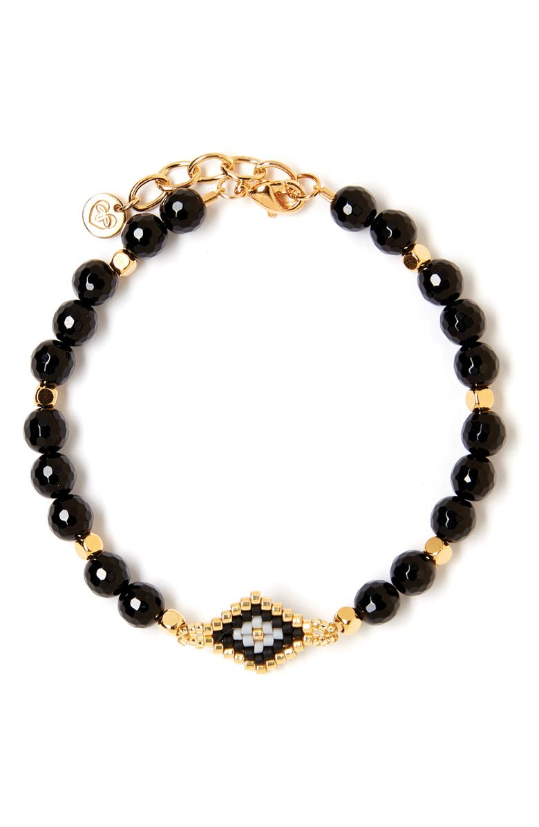 TESS + TRICIA Nora Beaded Bracelet, Main, color, BLACK/ GOLD