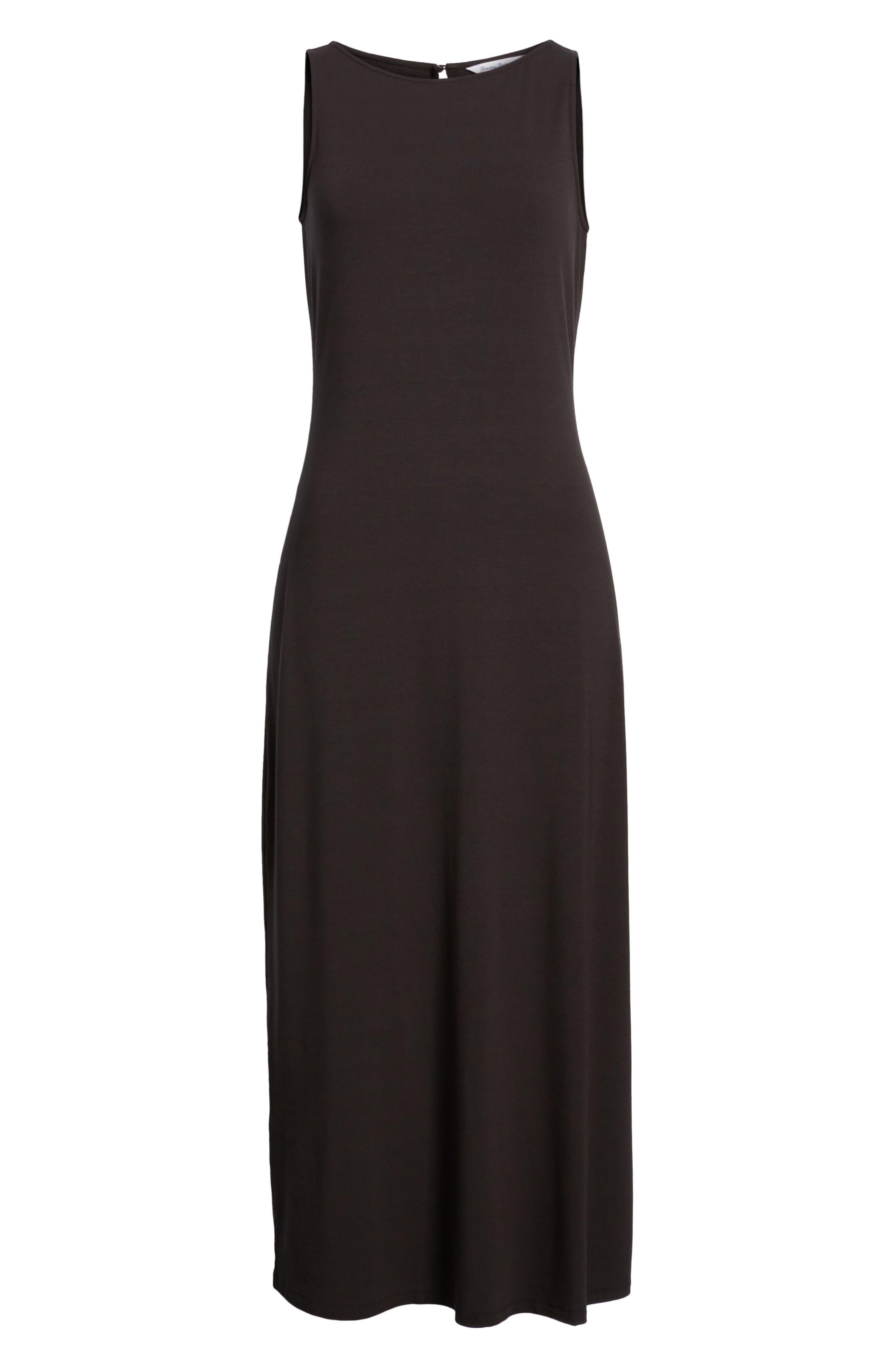 ,                             Tambour Midi Dress,                             Alternate thumbnail 5, color,                             BLACK