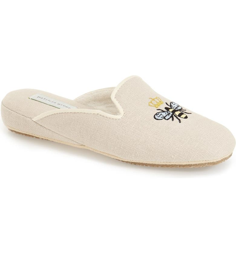 PATRICIA GREEN 'Queen Bee' Embroidered Slipper, Main, color, NATURAL