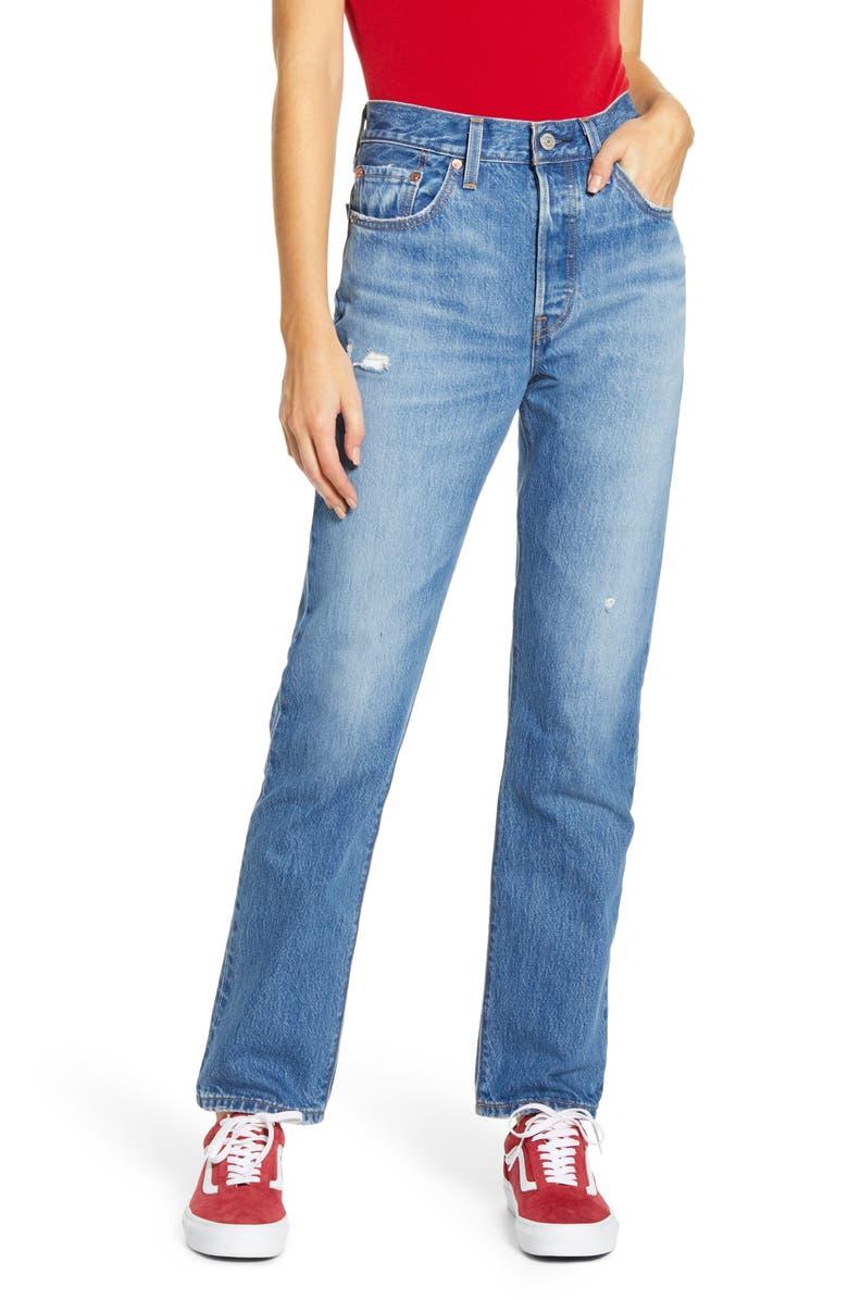 LEVI'S<SUP>®</SUP> 501<sup>®</sup> High Waist Straight Leg Jeans, Main, color, 401