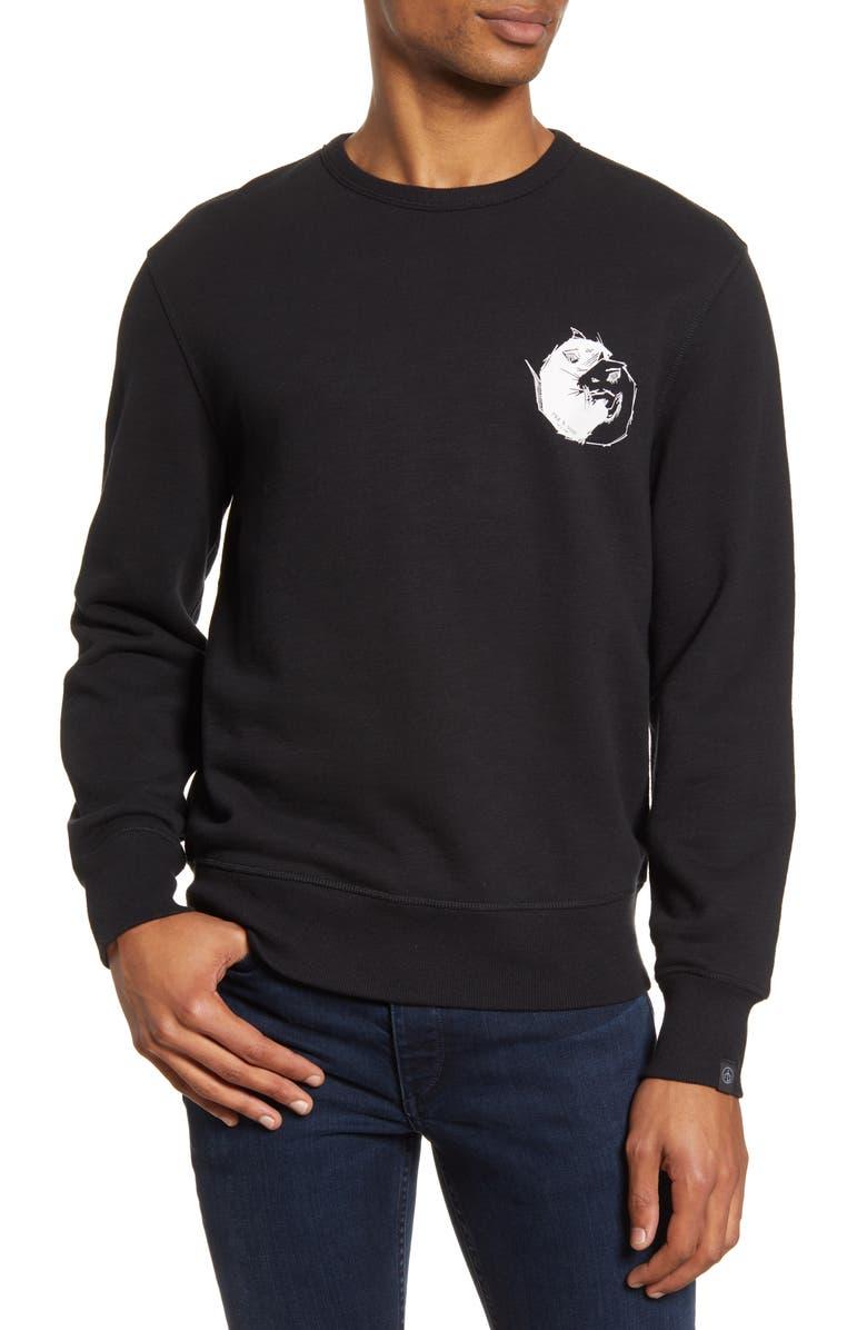 RAG & BONE Yin Yang Rat Crewneck Sweatshirt, Main, color, BLACK