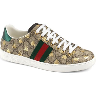 Gucci New Ace Monogram Bee Sneaker, Beige