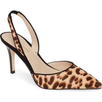 Pelle Moda Ima Pointed Toe Genuine Calf Hair Slingback Pump, Brown