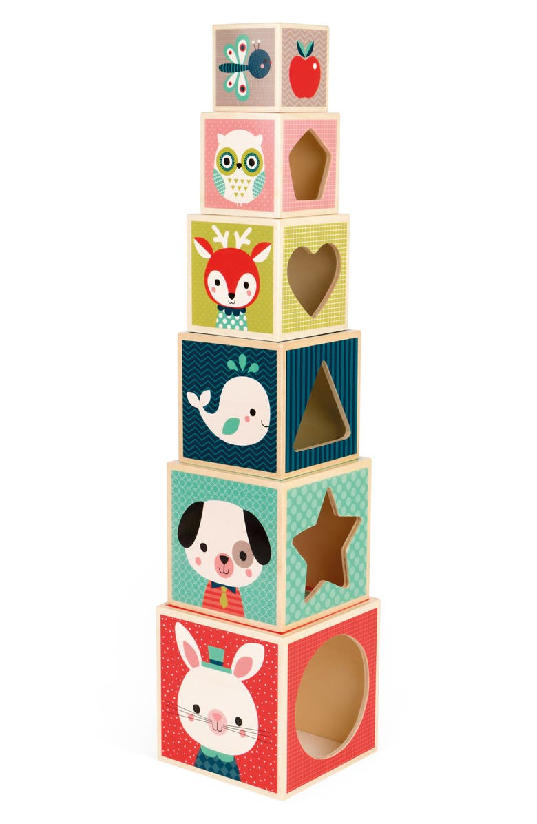 JANOD 6-Block Pyramid Stacking Toy, Main, color, MULTI