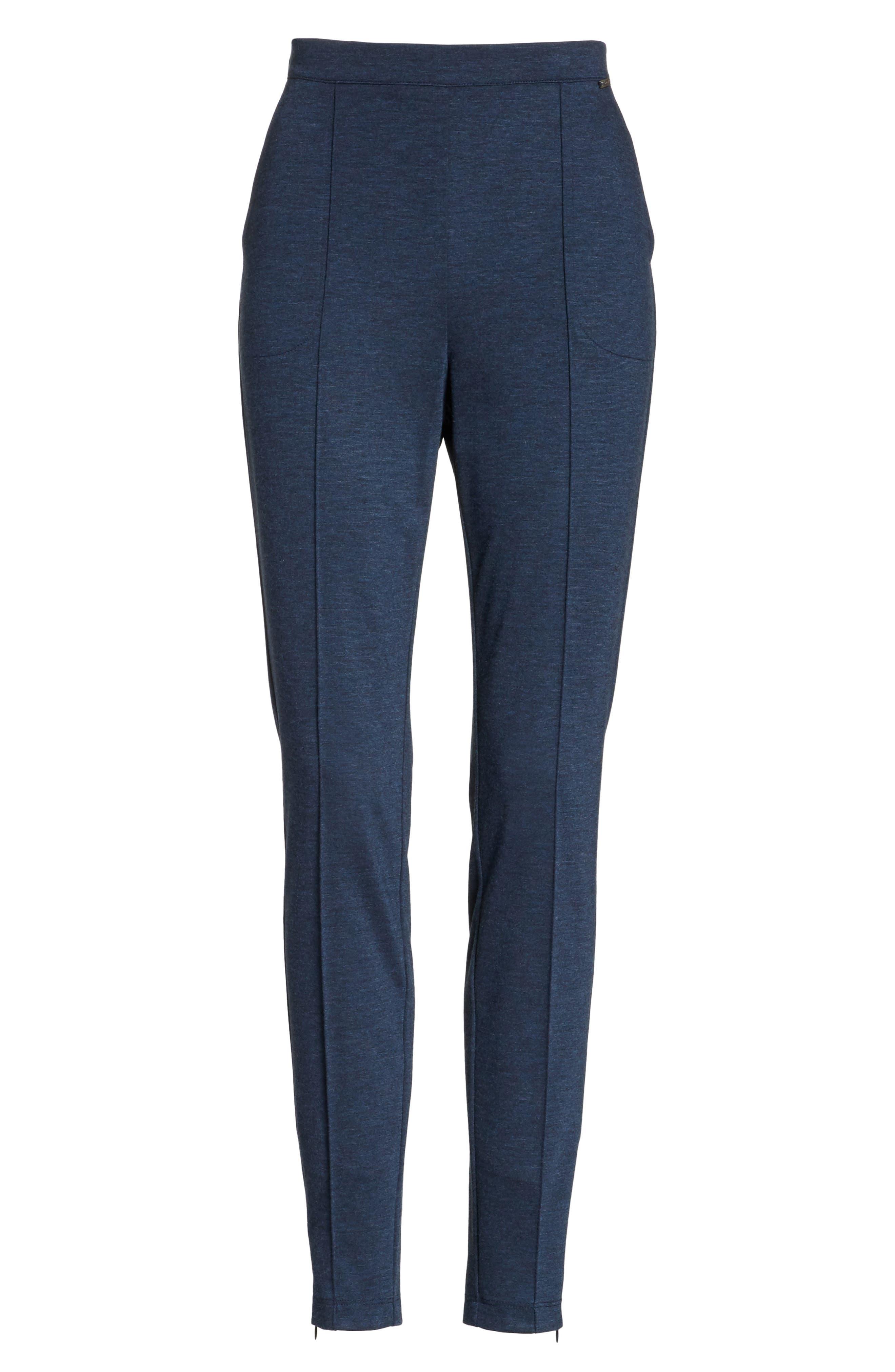 ,                             Mélange Stretch Ponte Crop Pants,                             Alternate thumbnail 6, color,                             DARK BLUE