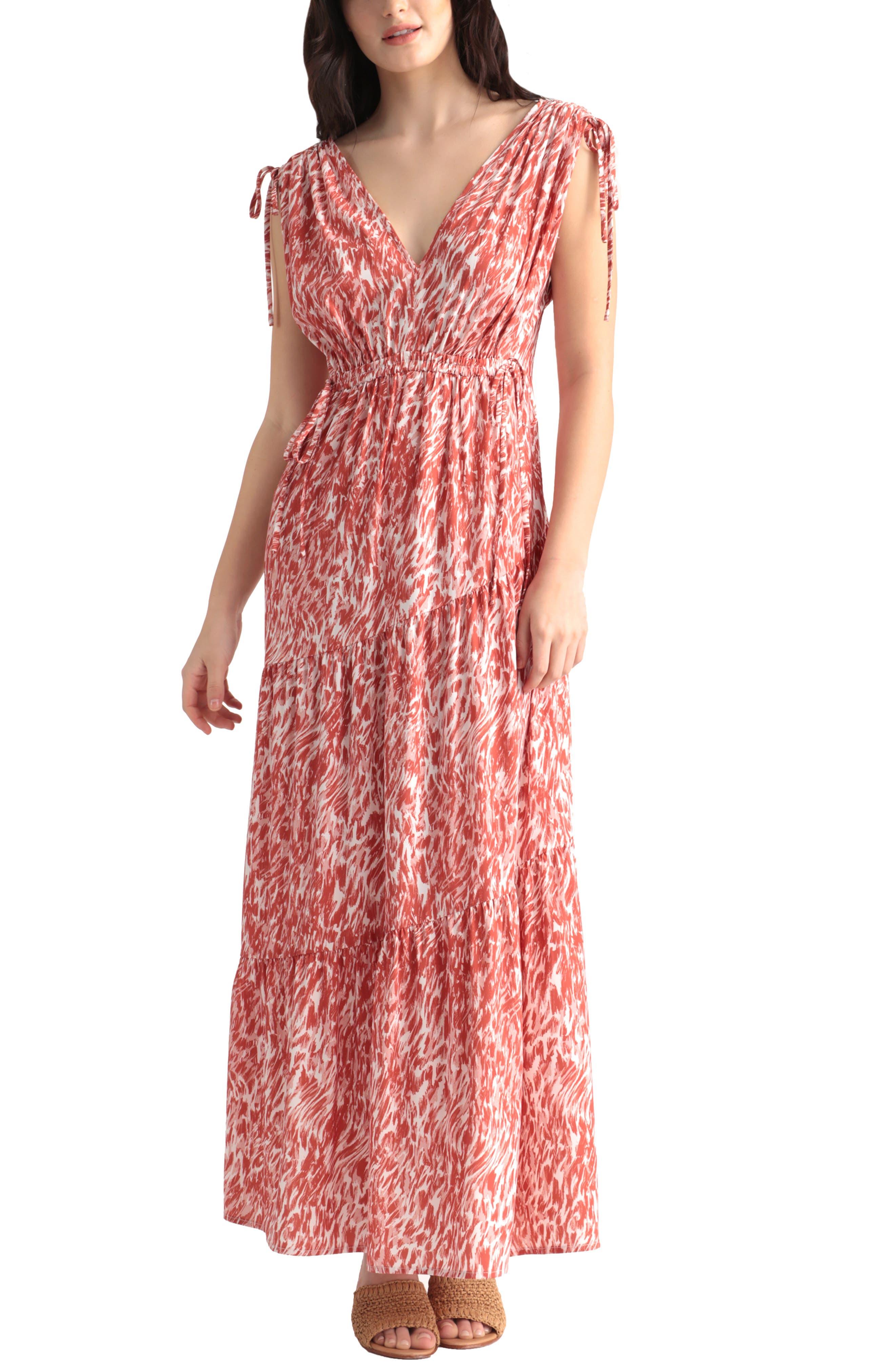 Abstract Swirl Print Tie Sleeve Dress