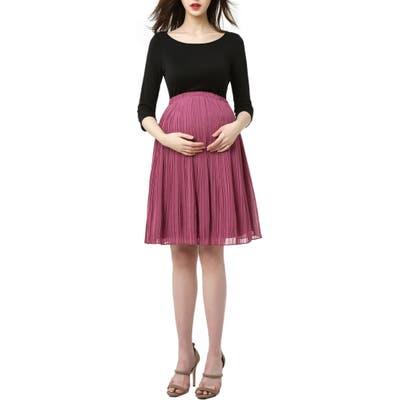 Kimi And Kai Marie Colorblock Pleat Skirt Maternity Dress, Black