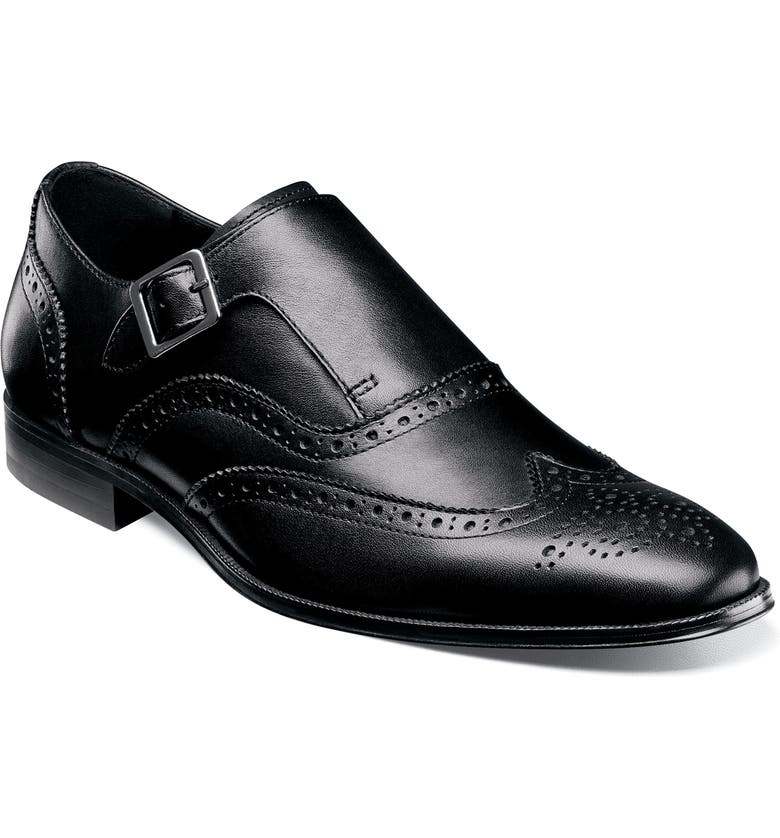 FLORSHEIM Jetson Wingtip Monk Oxford, Main, color, BLACK