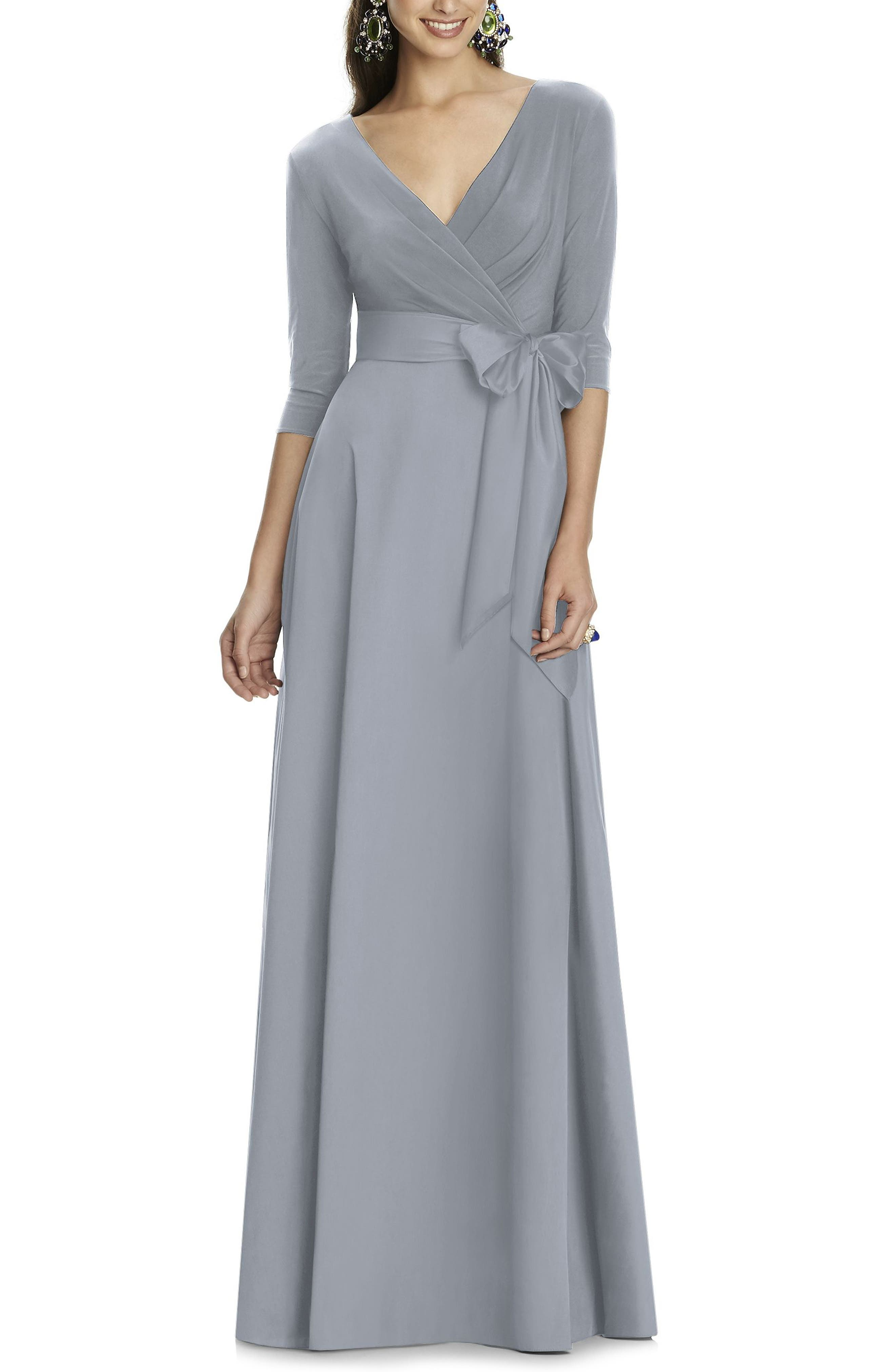 Alfred Sung Jersey & Mikado A-Line Gown, Grey