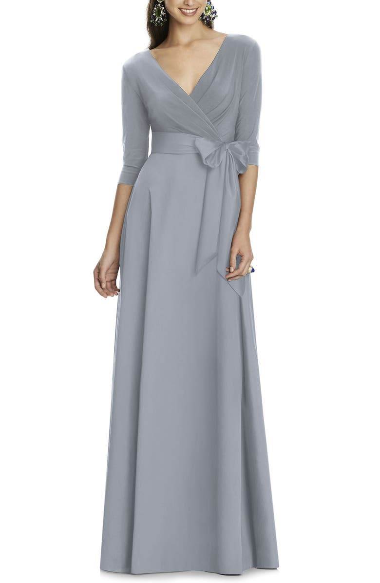 ALFRED SUNG Jersey & Mikado A-Line Gown, Main, color, PLATINUM