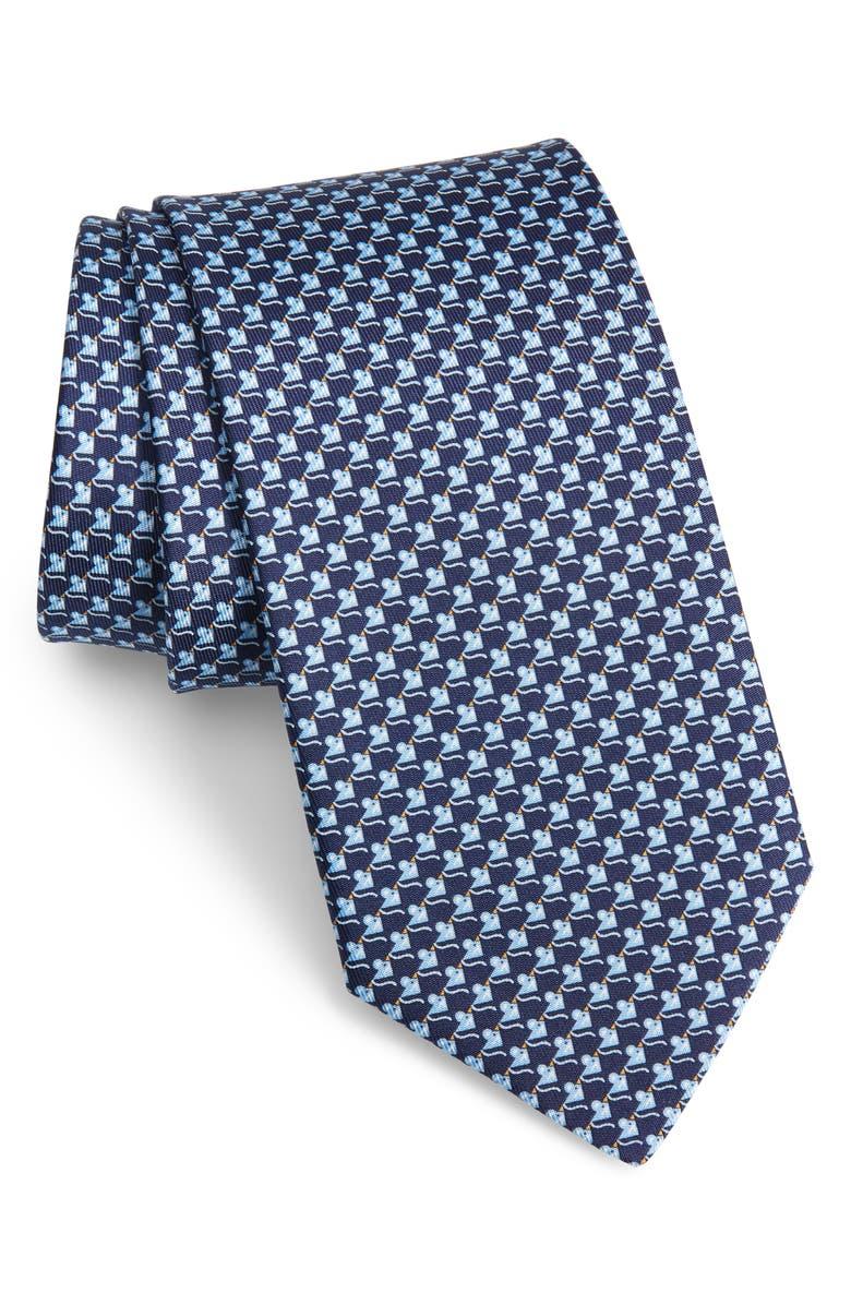 SALVATORE FERRAGAMO Iso Mouse Print Silk Tie, Main, color, F. NAVY/ AZZUR