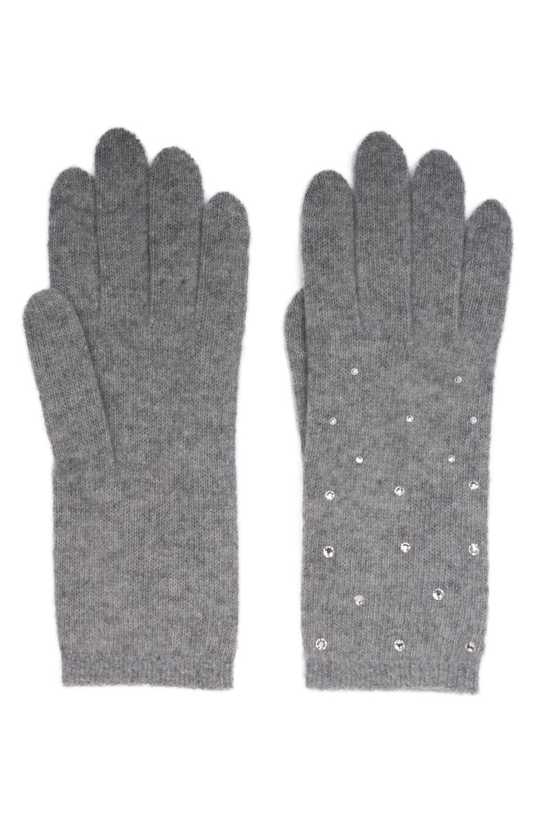 CAROLYN ROWAN ACCESSORIES Crystal Embellished Cashmere Gloves, Main, color, LIGHT HEATHER GREY