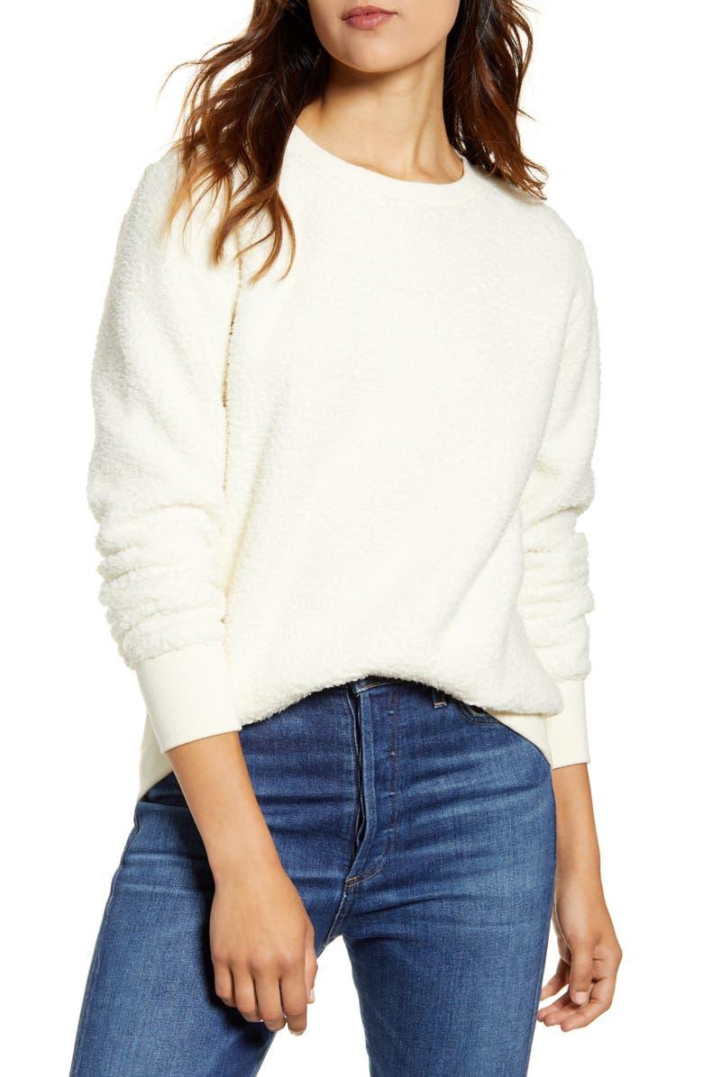 LUCKY BRAND Fleece Sweatshirt, Main, color, BIRCH