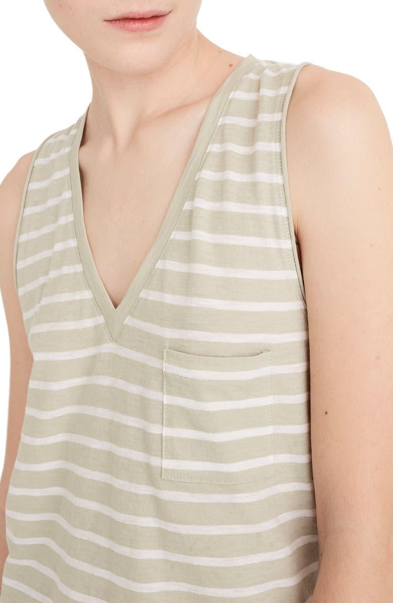 MADEWELL Whisper Cotton Stripe V-Neck Pocket Tank, Main, color, SUNFADED SAGE STRIPE