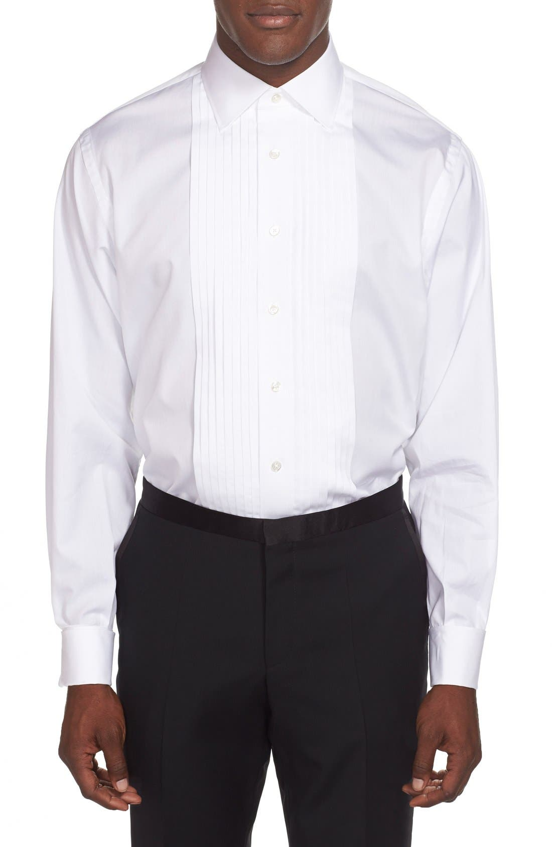 ,                             Classic Fit French Cuff Tuxedo Shirt,                             Alternate thumbnail 2, color,                             100