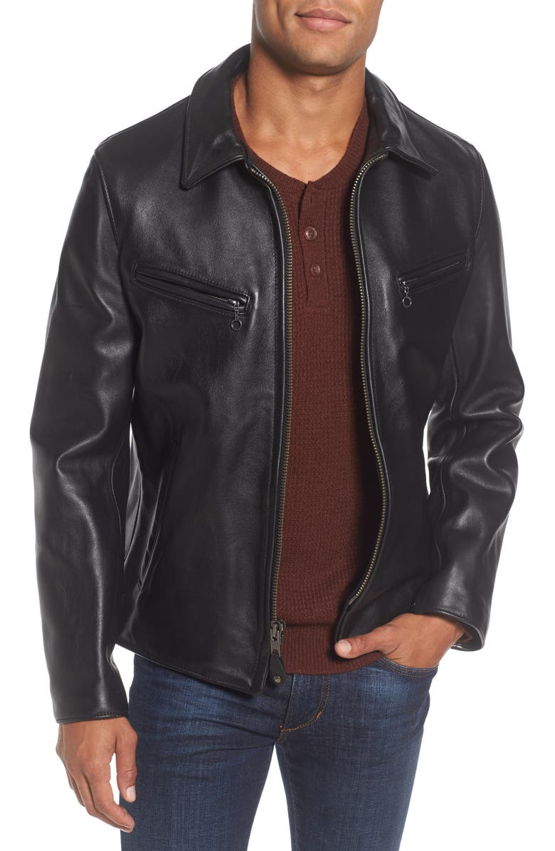 SCHOTT NYC Slim Fit Leather Jacket, Main, color, 001