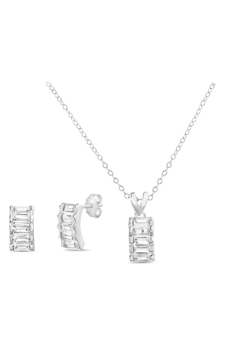 LESA MICHELE Earrings & Necklace Set, Main, color, SILVER