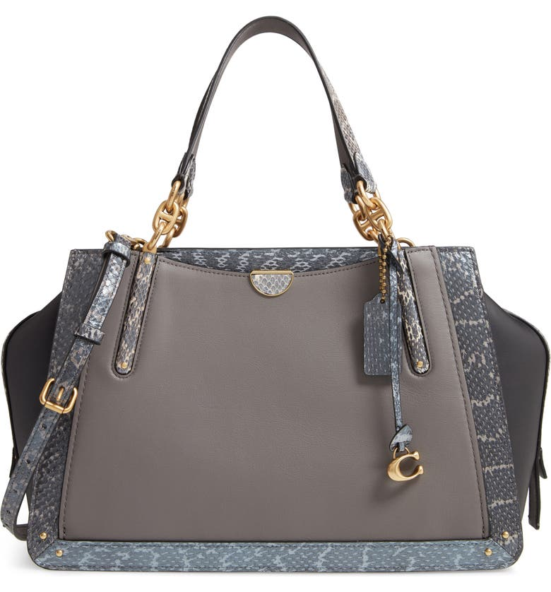 COACH Exotic Dreamer 36 Leather & Genuine Snakeskin Satchel, Main, color, 025