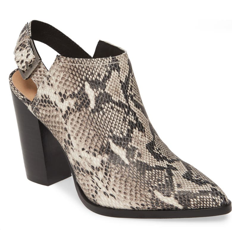 HALOGEN<SUP>®</SUP> Brooke Stacked Heel Bootie, Main, color, BLACK / WHITE PRINTED LEATHER