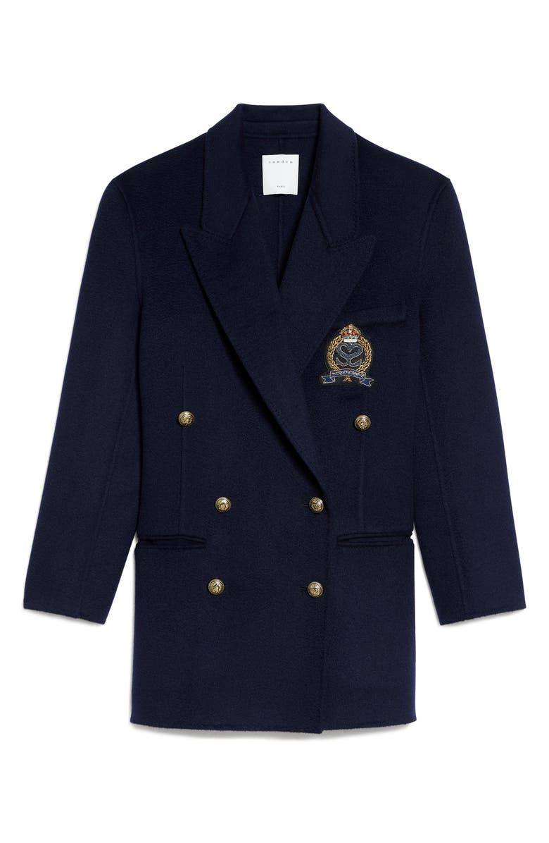 SANDRO Double Breasted Wool Blazer, Main, color, NAVY BLUE