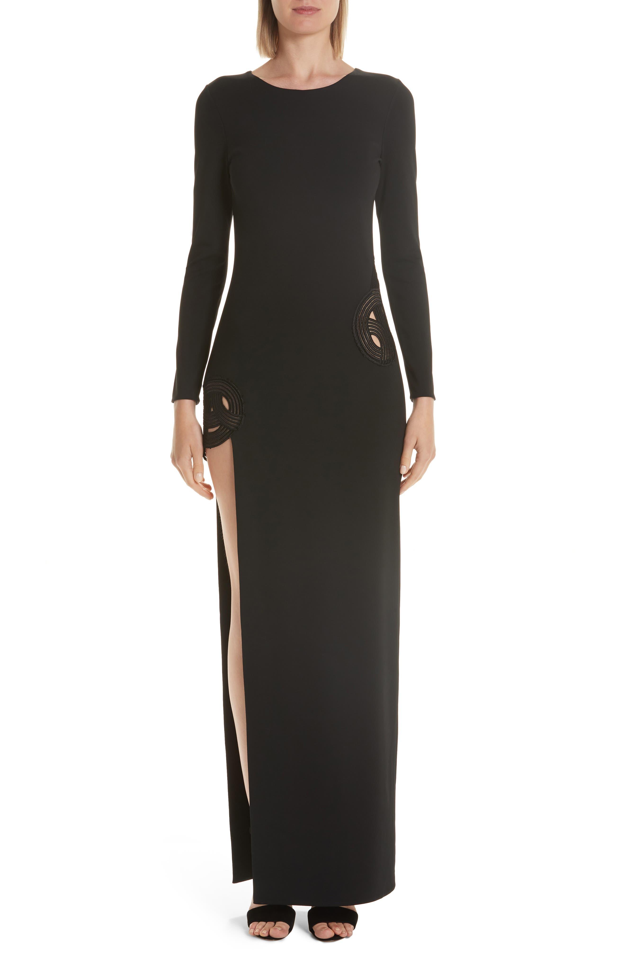 Haney Gia Long Sleeve Evening Dress, Black