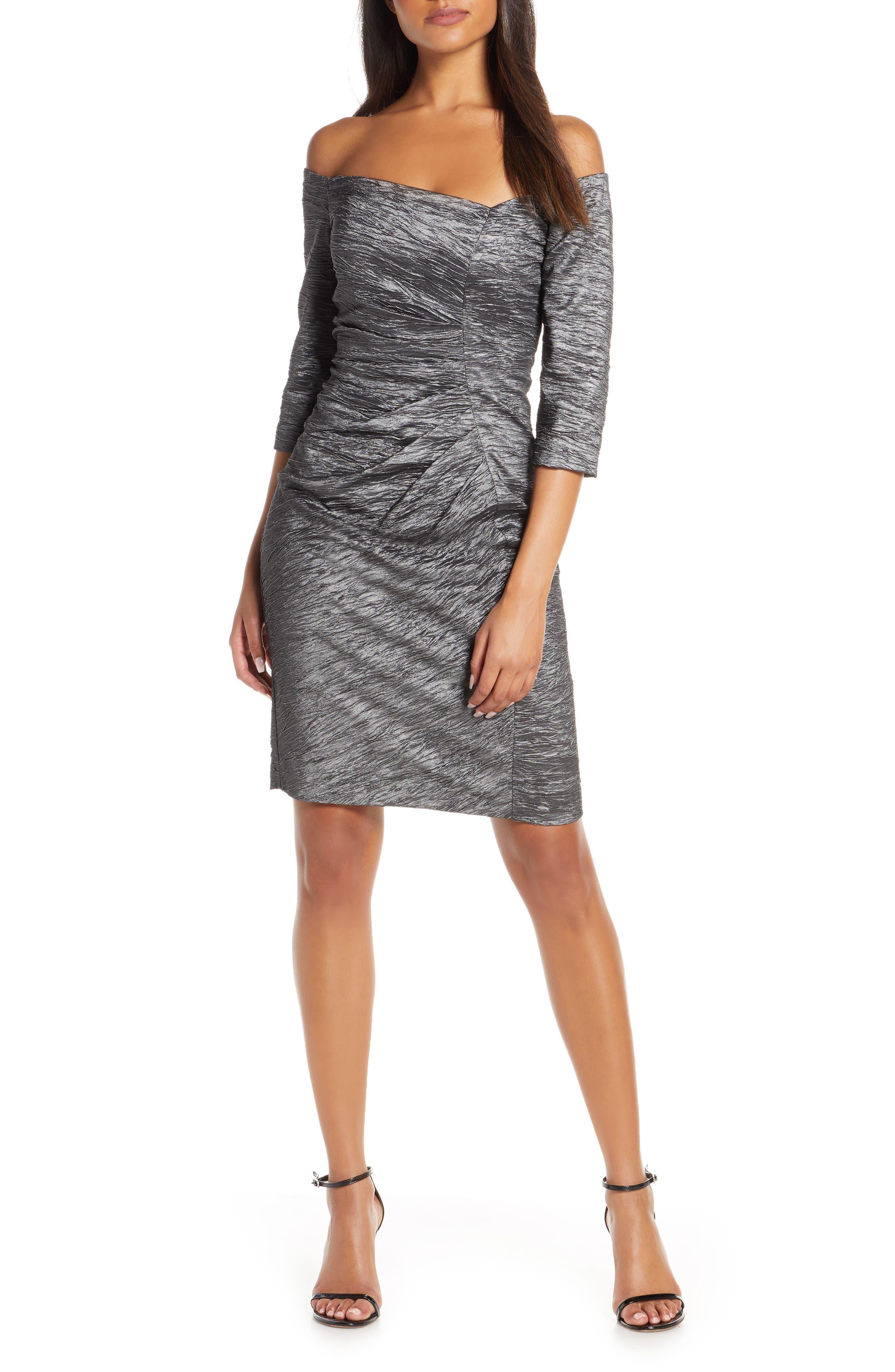 Eliza J Off The Shoulder Ruched Sheath Dress, Grey
