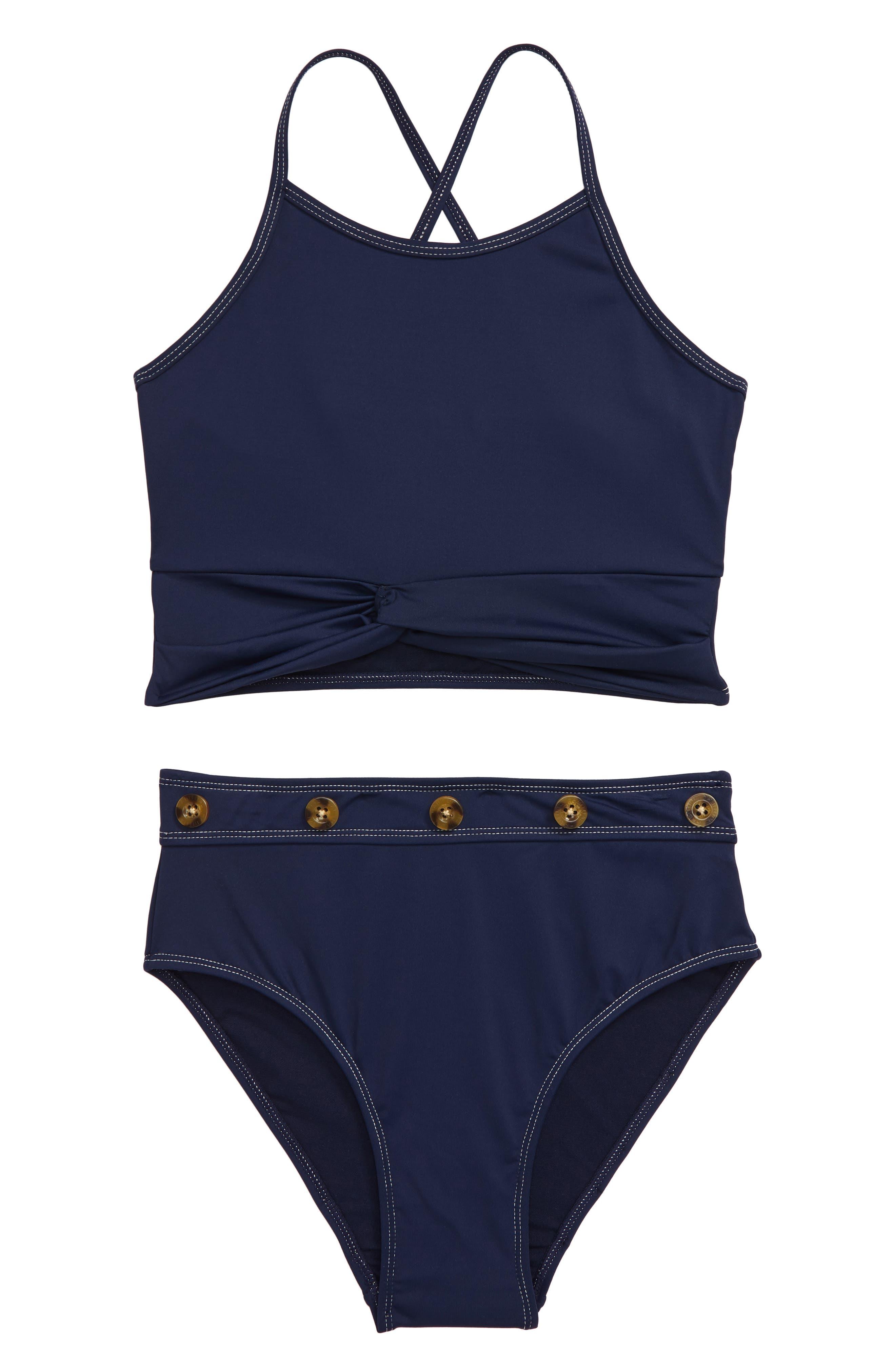 Image of Habitual Kids Contrast Button 2-Piece Swimsuit Set