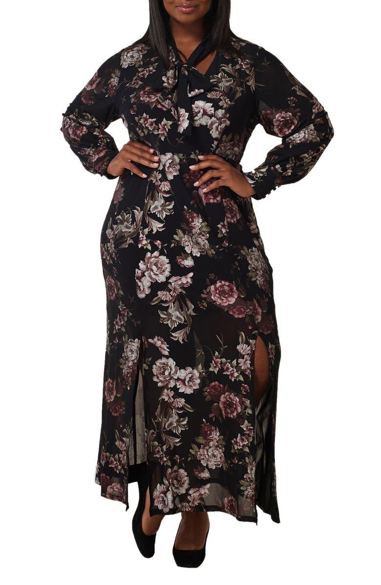 MARÉE POUR TOI Floral Long Sleeve Maxi Dress, Main, color, 001