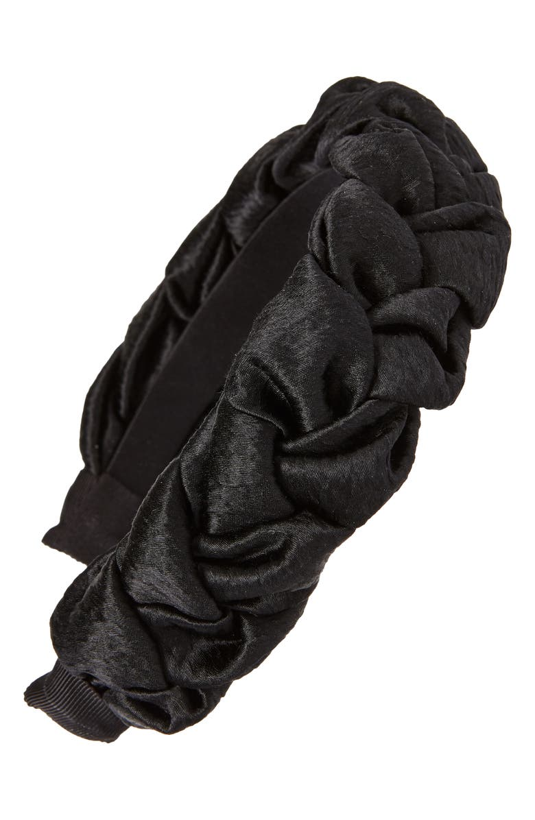 JENNIFER BEHR Lorelei Braided Silk Headband, Main, color, 001