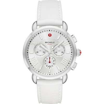 Michele Sport Chronograph Watch Head With Silicone Strap,