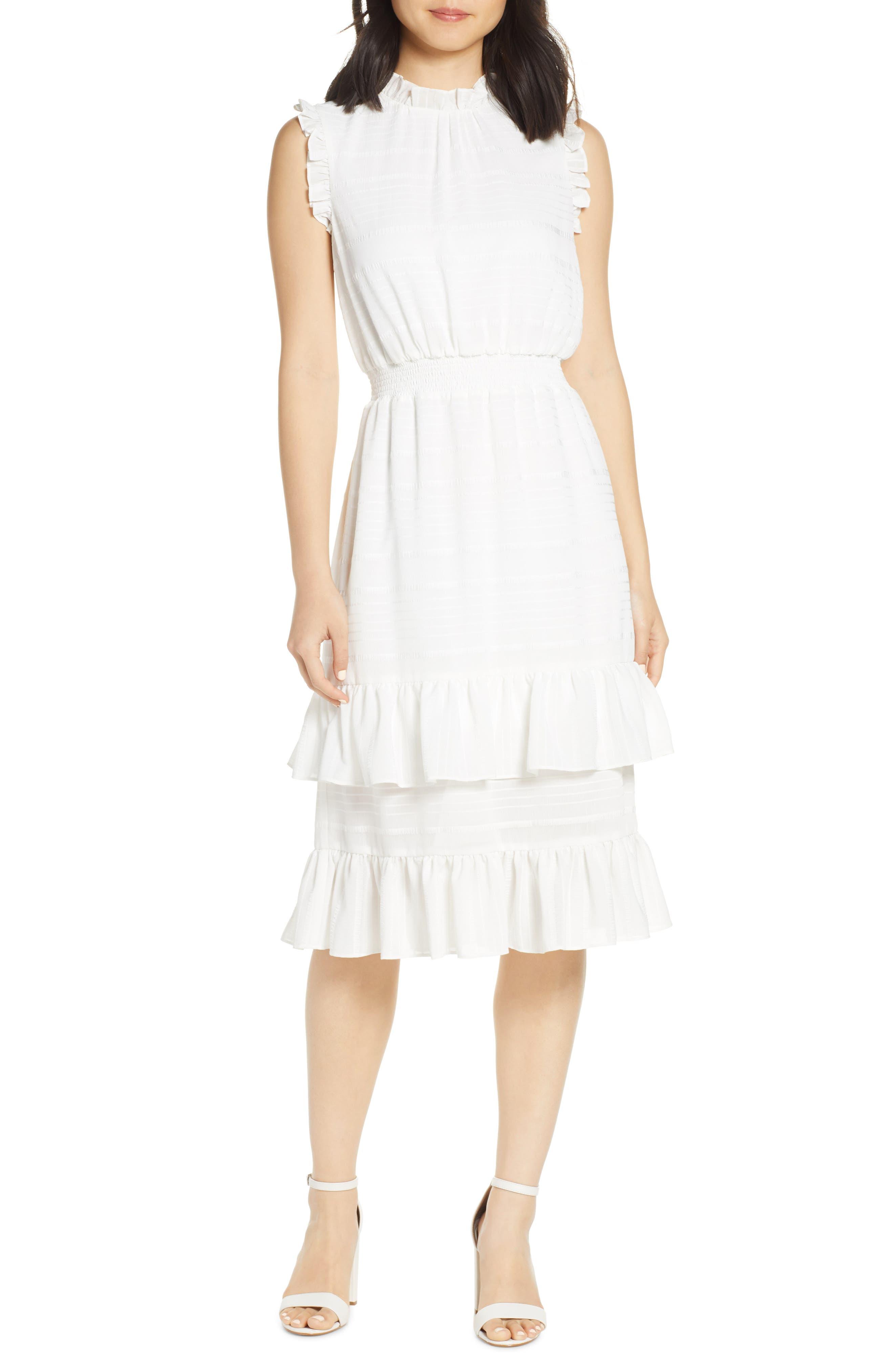 Avec Les Filles Tonal Stripe Ruffle Dress, Ivory