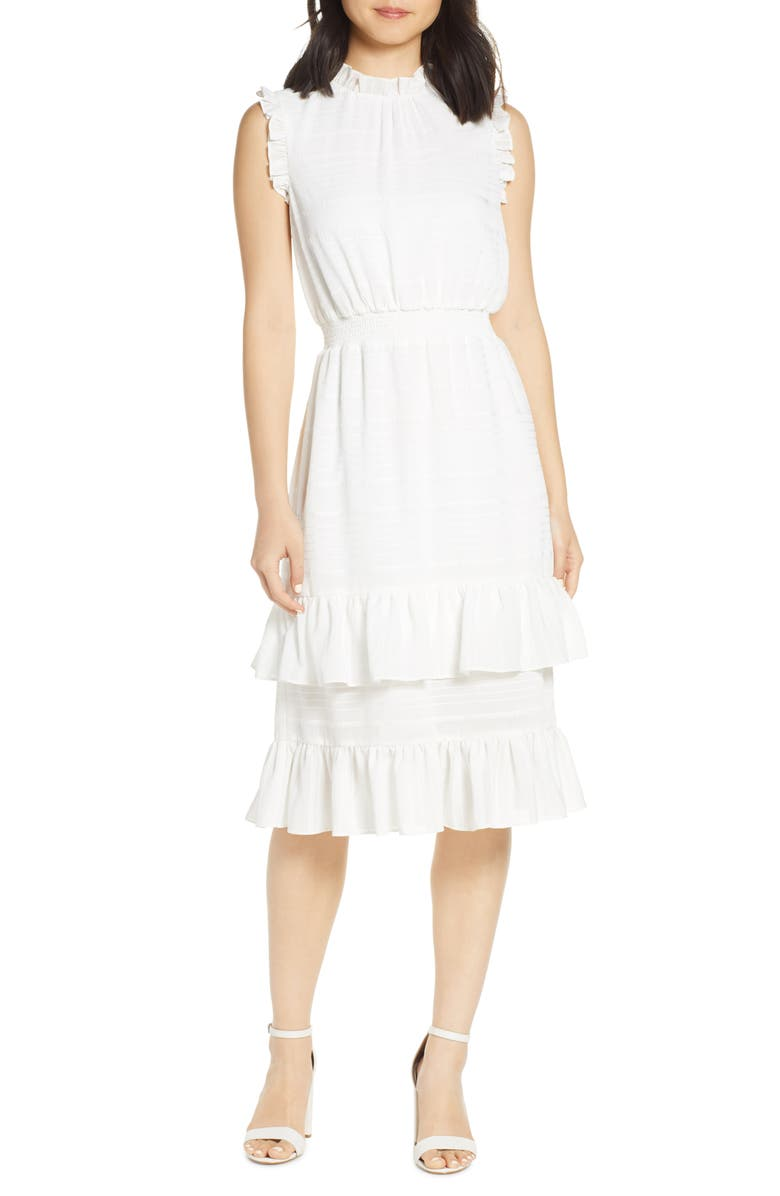 AVEC LES FILLES Tonal Stripe Ruffle Dress, Main, color, IVORY