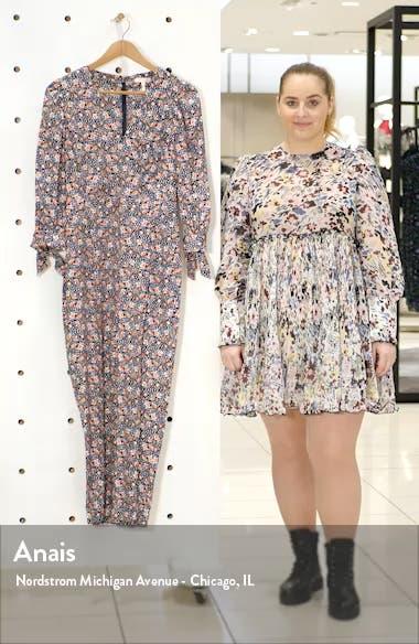 Twilight Floral Long Sleeve Silk Blend Jumpsuit, sales video thumbnail