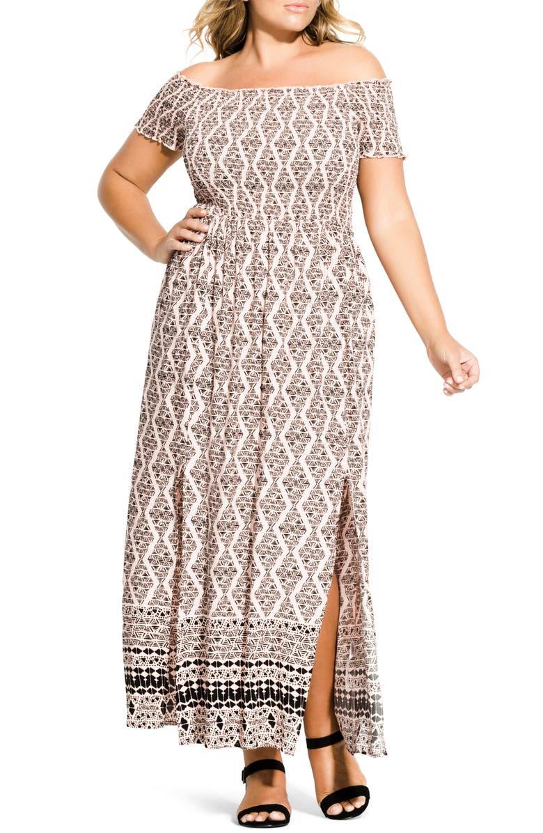 CITY CHIC Smocked Off the Shoulder Maxi Dress, Main, color, 617