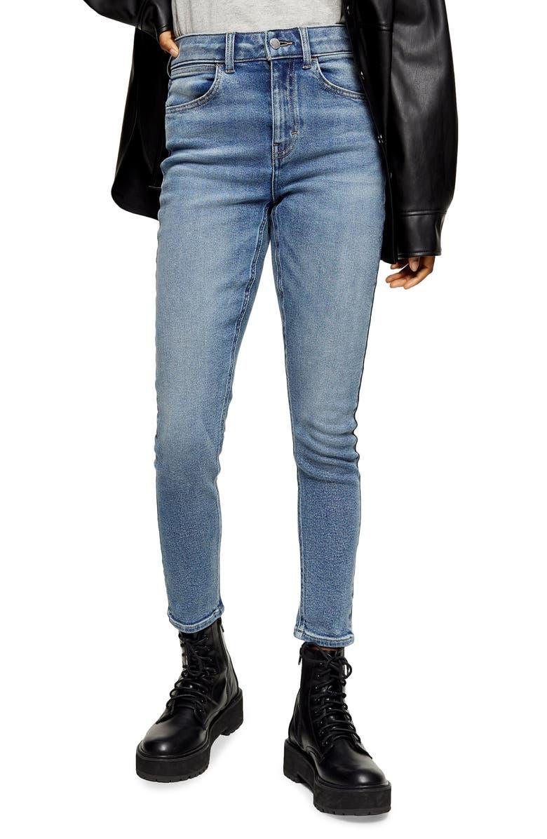 TOPSHOP Four Skinny Jeans, Main, color, MID DENIM
