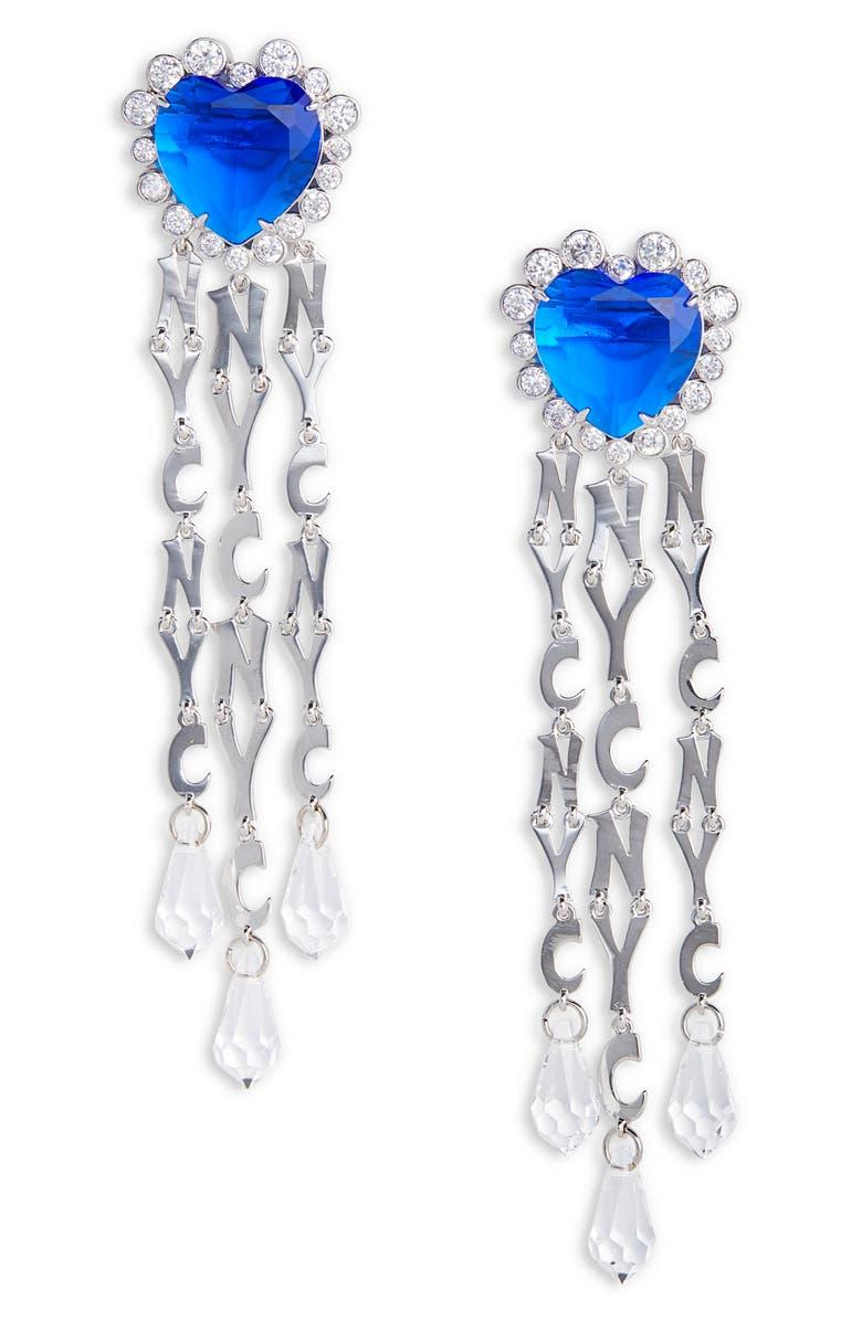 JIWINAIA NYC Swarovski Crystal Drop Earrings, Main, color, RHODIUM