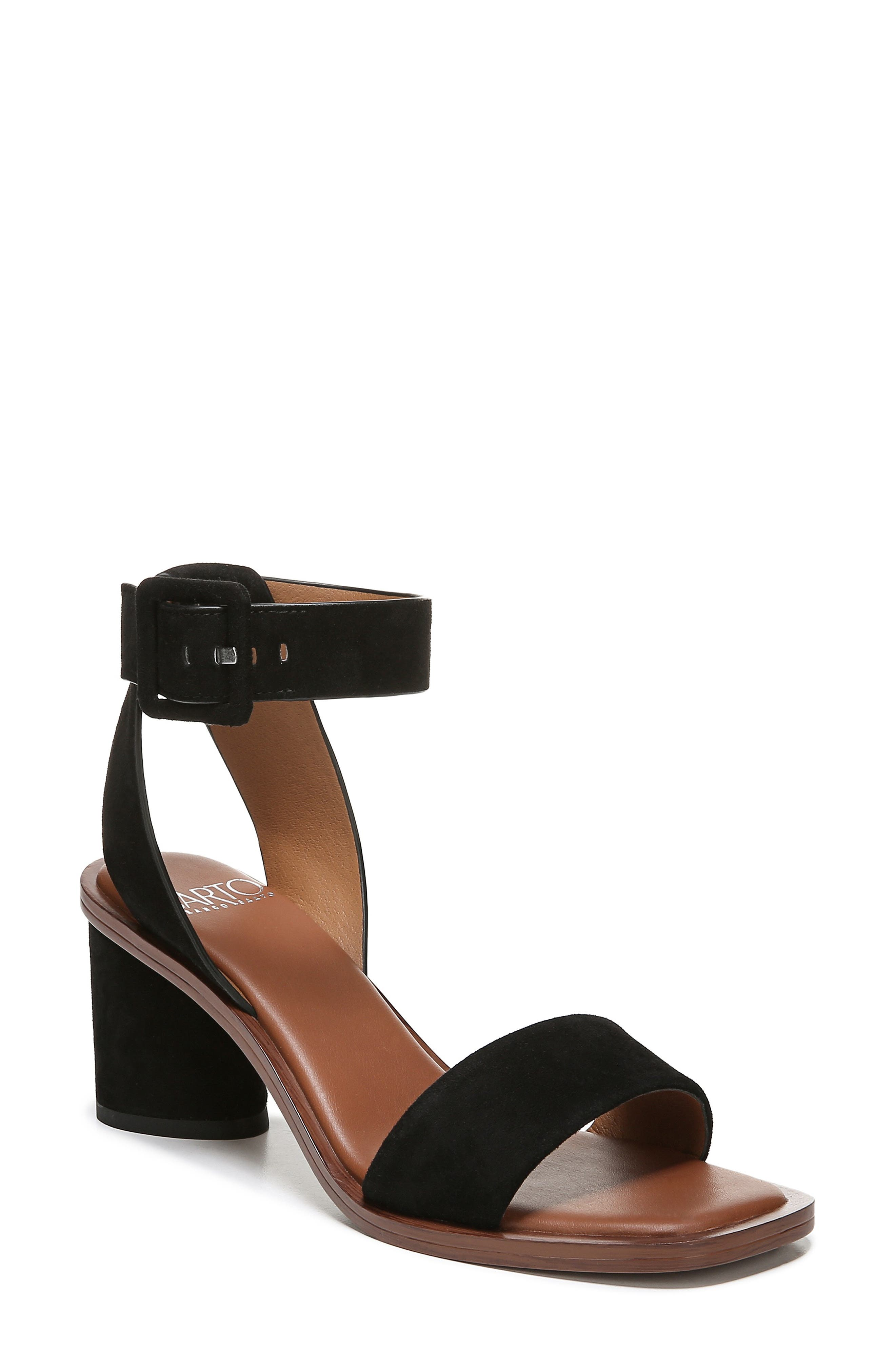 Risa Strap Sandal, Main, color, BLACK SUEDE