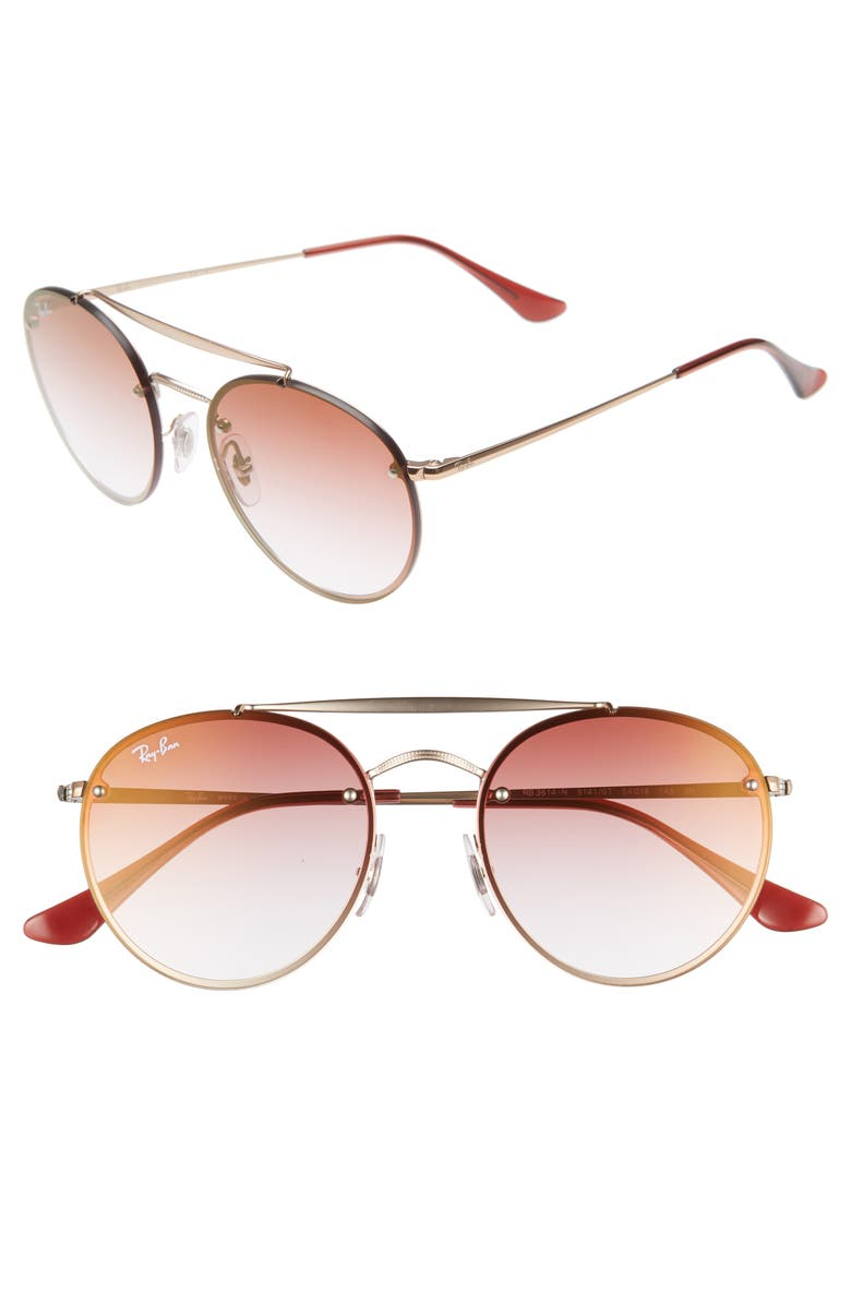 RAY-BAN 54mm Polarized Gradient Round Sunglasses, Main, color, RED/ COPPER GRADIENT
