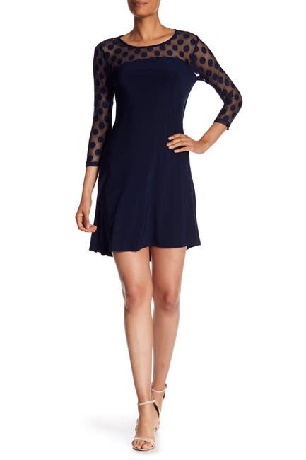 Image of Nina Leonard Polka Dot Illusion 3/4 Sleeve Swing Dress