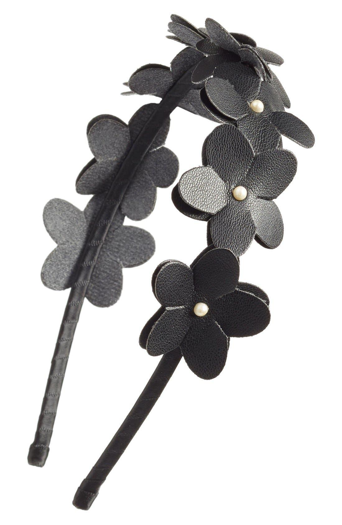 ,                             Faux Leather Flower Headband,                             Main thumbnail 1, color,                             001