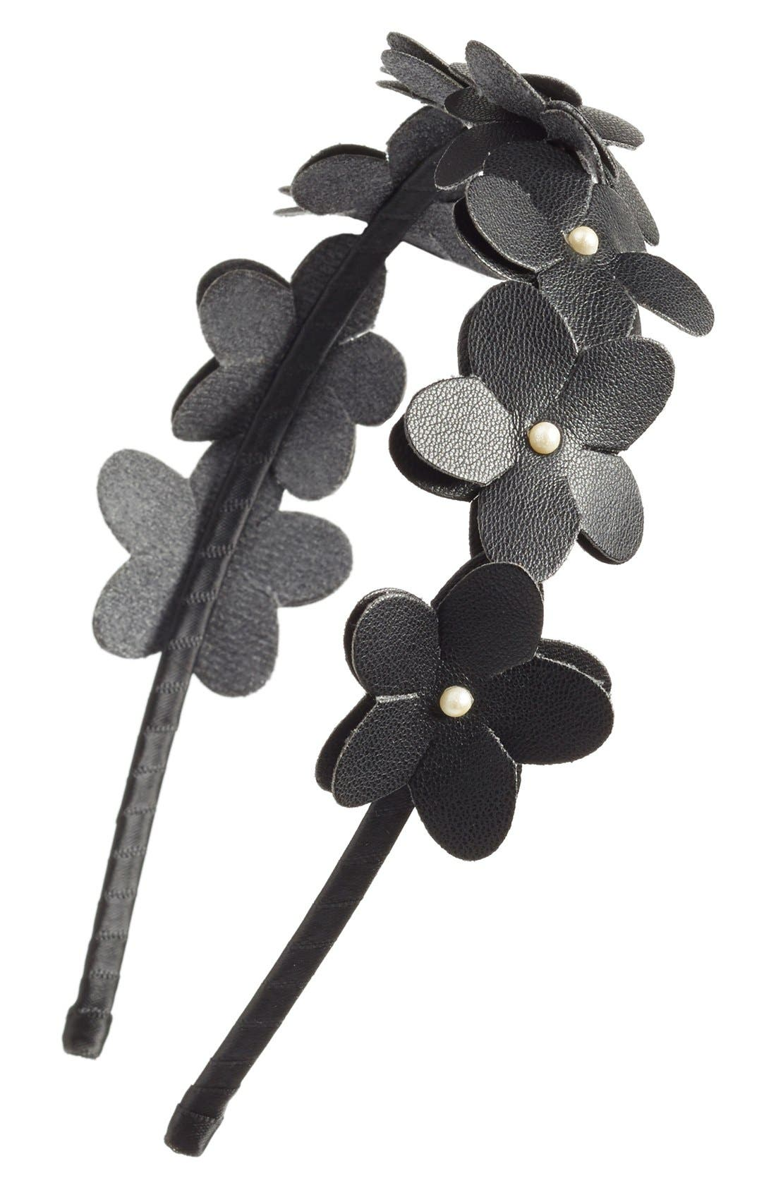 Faux Leather Flower Headband, Main, color, 001