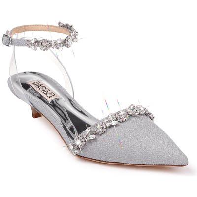 Badgley Mischka Addison Crystal Embellished Ankle Strap Sandal- Metallic