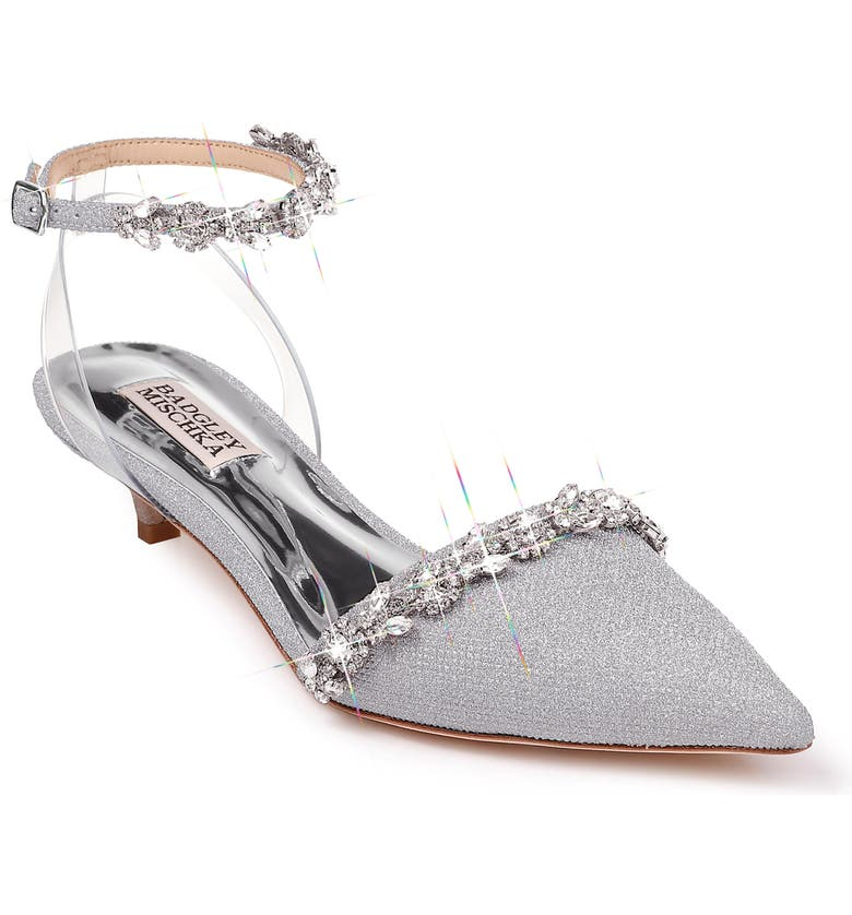 BADGLEY MISCHKA COLLECTION Badgley Mischka Addison Crystal Embellished Ankle Strap Sandal, Main, color, SILVER GLITTER FABRIC