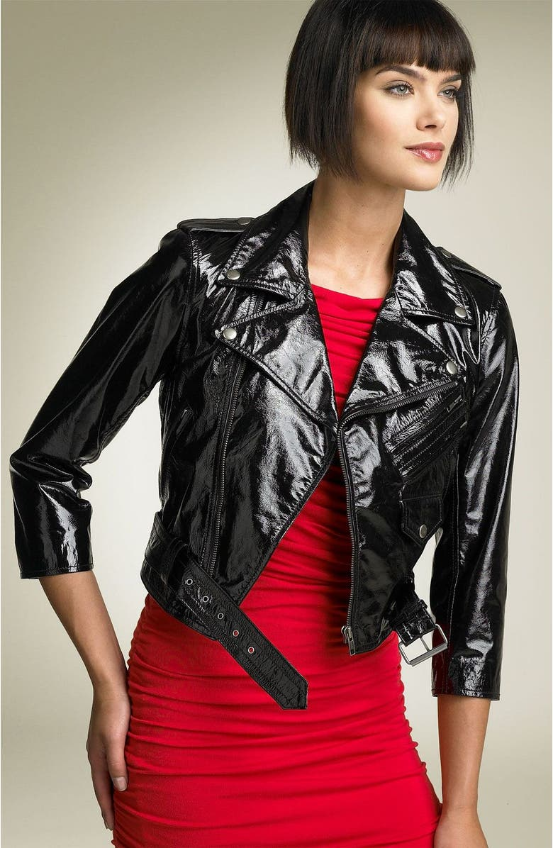 TRUTH & PRIDE Truth and Pride 'Glamour' Patent Leather Jacket, Main, color, 001