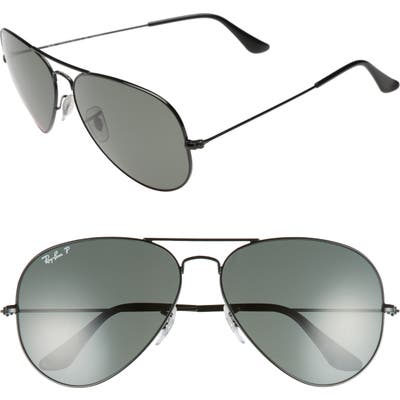 Ray-Ban Original 62Mm Polarized Aviator Sunglasses - Black/ Polarized