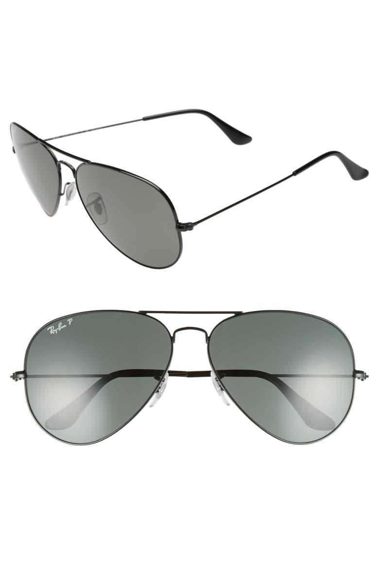 RAY-BAN Original 62mm Polarized Aviator Sunglasses, Main, color, BLACK/ POLARIZED