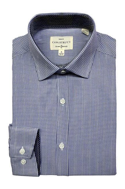 Image of CONSTRUCT 4-Way Stretch Slim Fit Check Print Dress Shirt